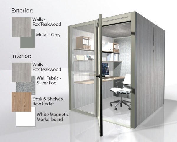 theHUB Office Pod - Fox Teakwood with Silver Interior 1