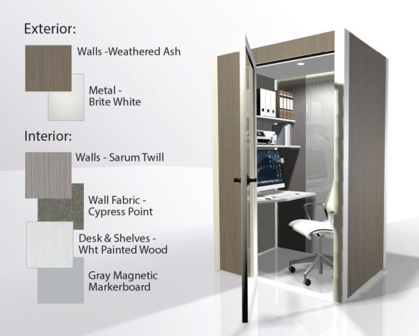 theHUB Office Pod - Weathered Ash with White Interior 1