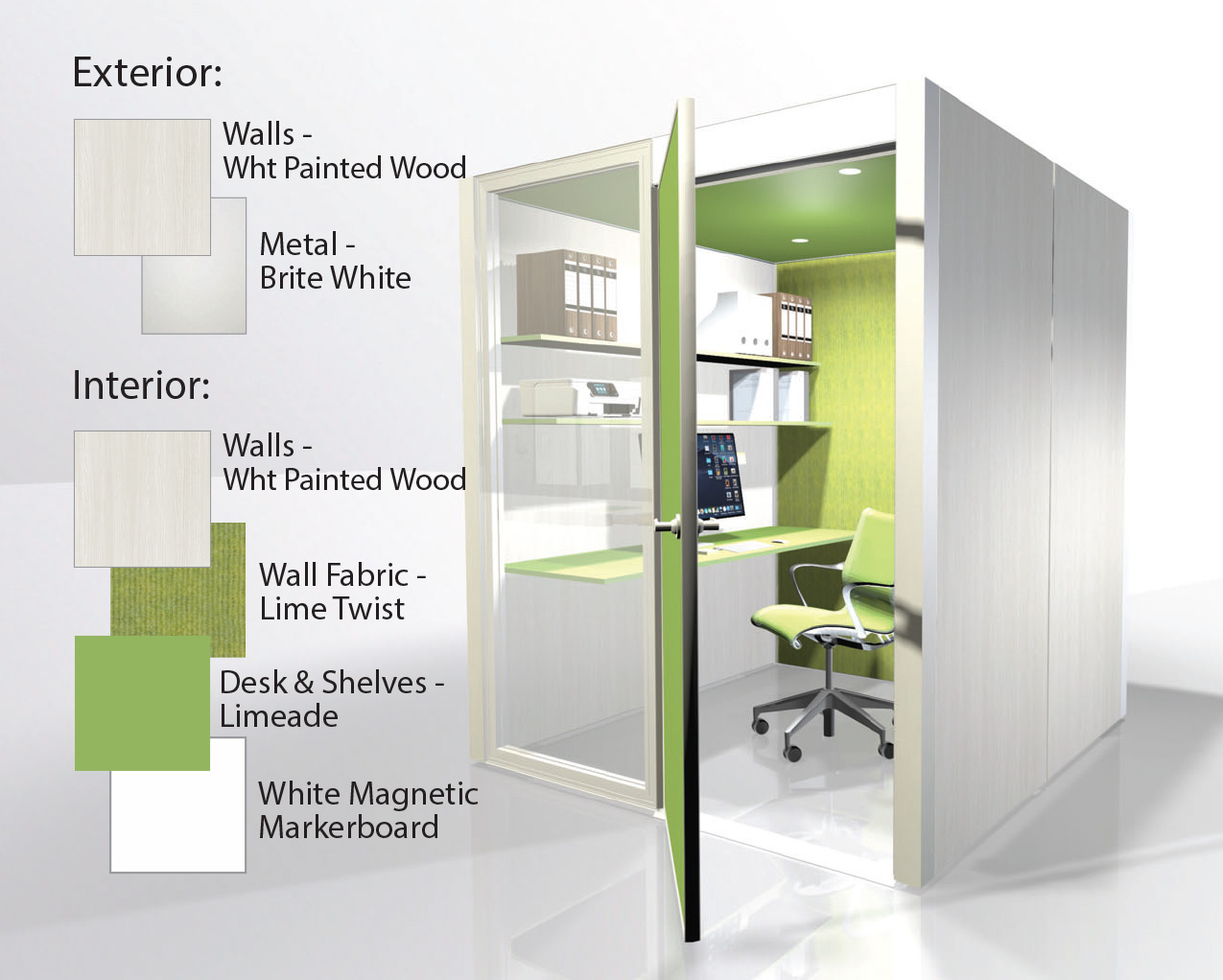 white wood and lime office pod